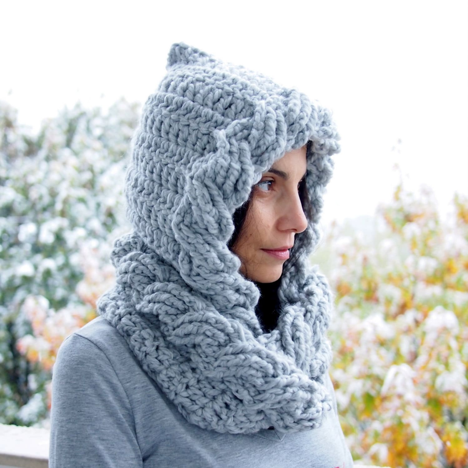 Crochet Pattern Cable Pixie Hood Scarf Loop Cirlce Infinity Etsy