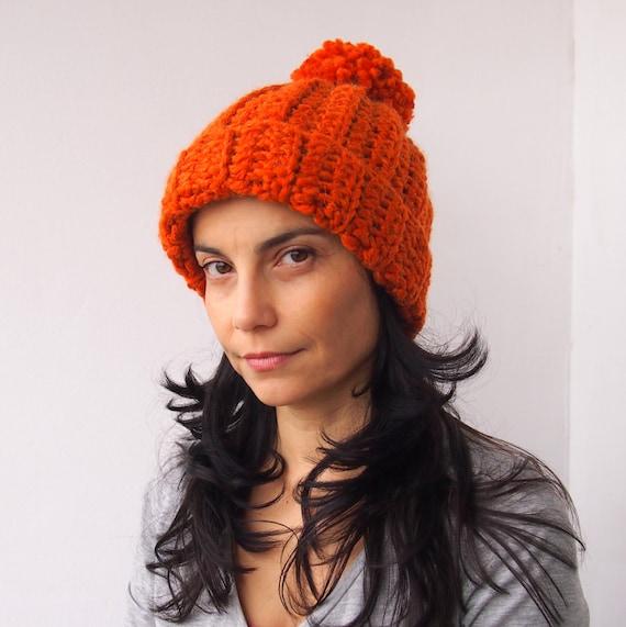 6cc4c11d4d0 CROCHET PATTERN knit look hat woman hat with pom pom women