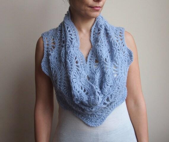 Crochet Pattern Lace Ripple Scarf Chevron Waves Infinity Etsy