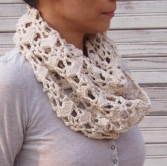 Crochet Pattern Women Infinity Scarfcrochet Lace Scarf Etsy