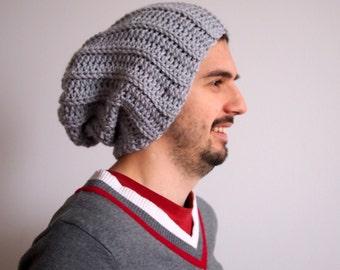 Crochet pattern men slouchy hat pom poom hat, knit look , man, woman, couples DIY photo tutorial instant download