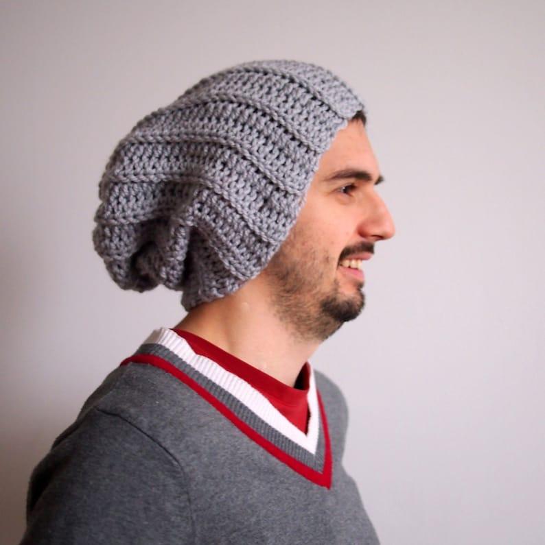 Crochet Pattern Men Slouchy Hat Pom Poom Hat Knit Look Man Etsy