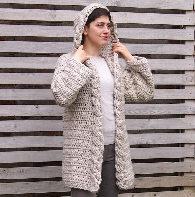 2d97039e9f43 Crochet PATTERN women cable hooded cardigan women coat