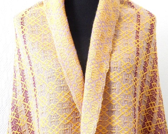 "Hand woven ""Summer Dreams""- Shawl, blanket, throw, scarf, wool"