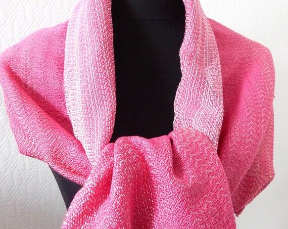 Handwoven Pink Spring- Scarf / summer shawl, cotton