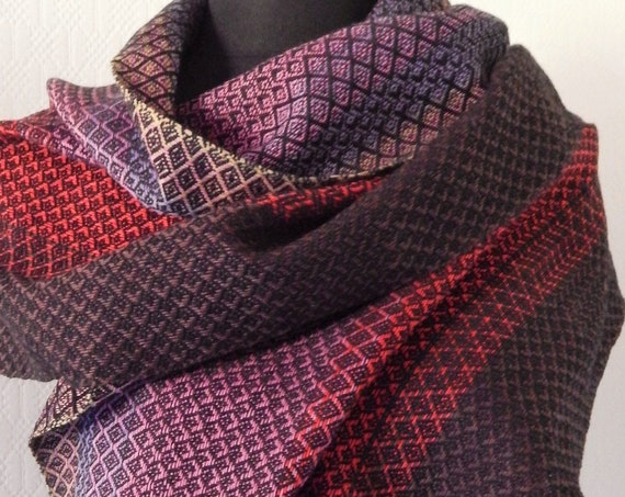 """Hand woven """"Red Sunset""""- Scarf"""