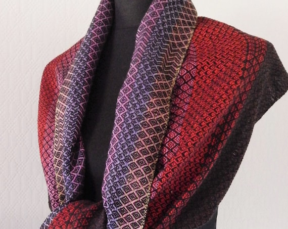 "Hand woven ""Red Sunset""- Scarf"