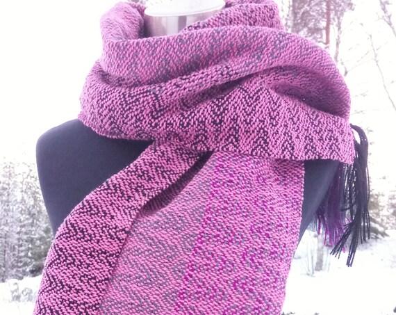 Handwoven scarf, wool, wool / cottonsilk
