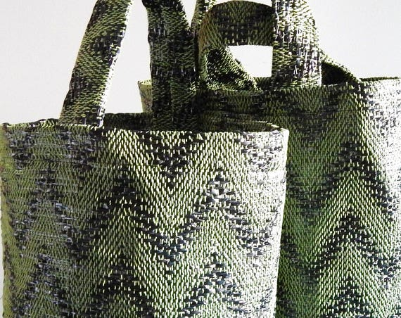 Hand woven bag, tote bag, made from recycled materials