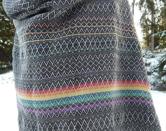 "Hand woven ""Little Rainbow""- Baby Wrap / Shawl, light gray"