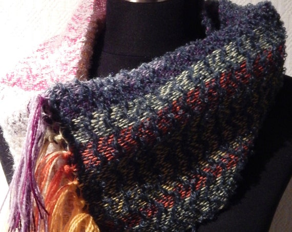 Hand woven Cowl Scarf / Tube scarf, wool / mohair