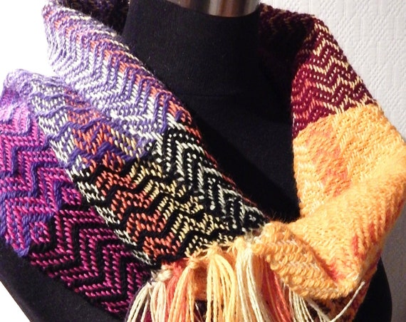Hand woven Cowl Scarf / Tube scarf, wool