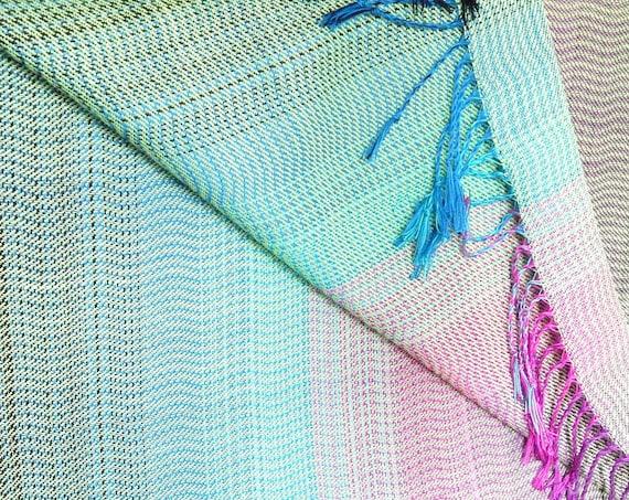 "Hand woven ""Polar Lights""- Baby Wrap / Shawl, 2,4 m."