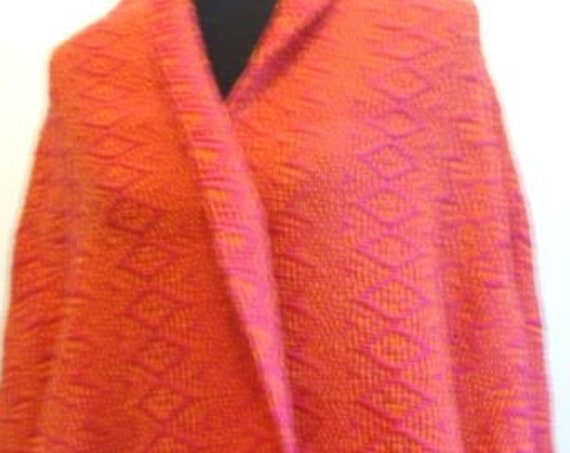 "Hand woven ""Autumn""- Shawl, scarf, throw, blanket, wool, custom-made"