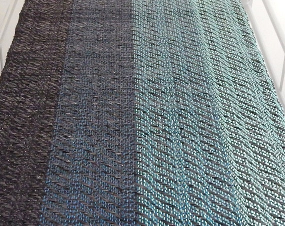 """Handwoven """"Waves""""- Table Runner, recycled materials, 50 x 260 cm"""