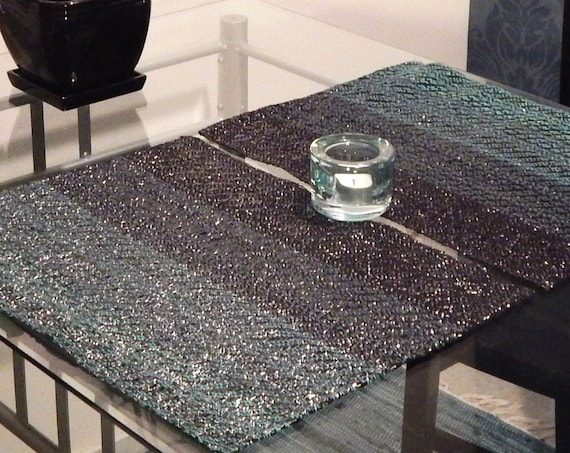 """Handwoven """"Waves""""- placemats set of 2, recycled materials"""