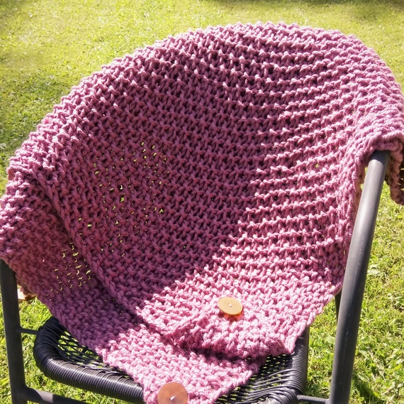Hand knitted chunky shawl / blanket