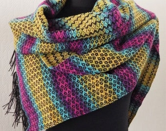 Handwoven colorful scarf, wool