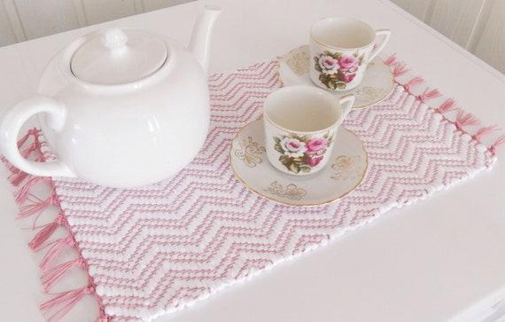 Hand woven Trivet, Rag Rug Placemat, Table runner