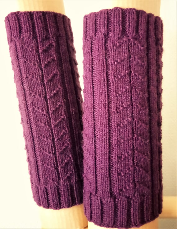 Handknit leg warmers, wool, plum