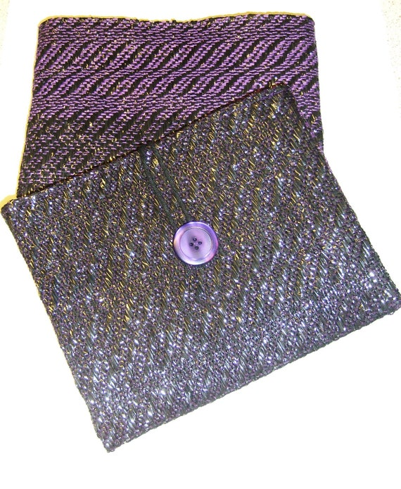 Handwoven Glossy Pouch, made from recycled materials, video cassette tape