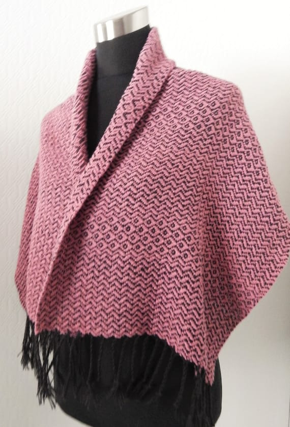 Handwoven Silky- shawl / scarf, shoulder warmer, wool / cotton / silk
