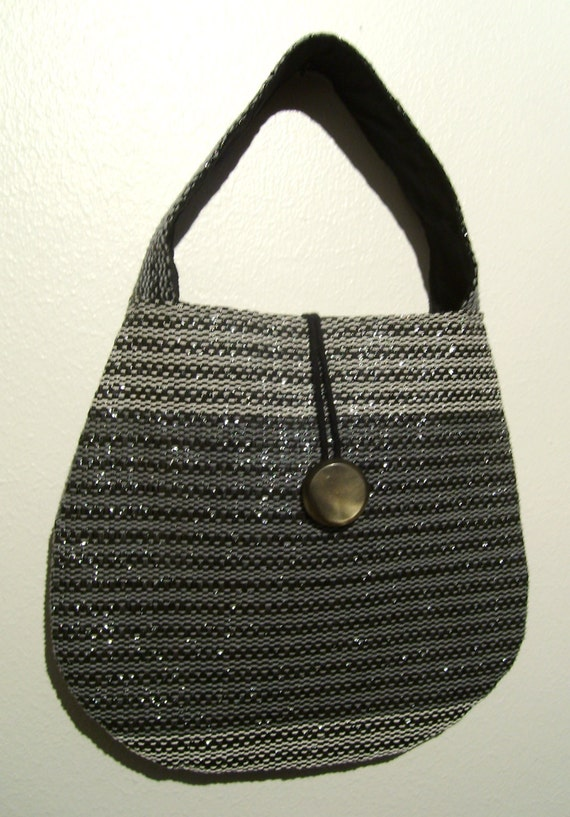 Handwoven Glossy handbag / evening bag, made from recycled materials