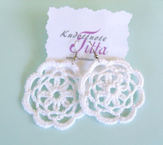 Crochet Flower- earrings, cotton