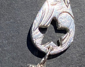 Silver teardrop with star dangle pendant