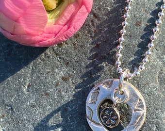 Silver circle heart hand made pendant necklace
