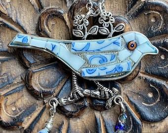 Blue mosaic bird pendant necklace