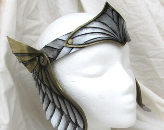 Viking, Valkyrie Leather Crown, LARP, Gold and silver, Inverse Wings, Viking Crown, Role Play, Amazon, Thor, Cosplay, Mardi Gras