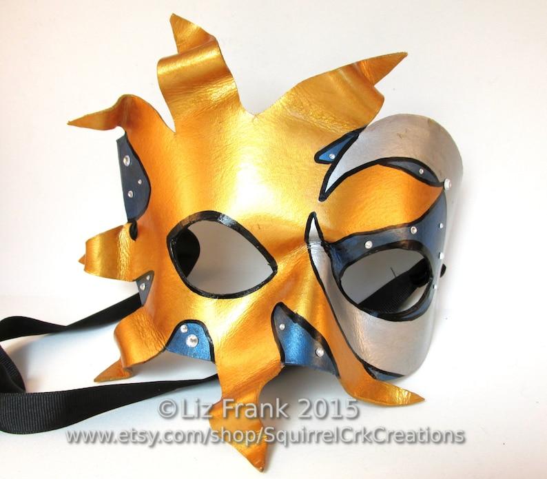 9fb7cb30e22 Sun and Moon mask Leather Mardi Gras Prom LARP cosplay