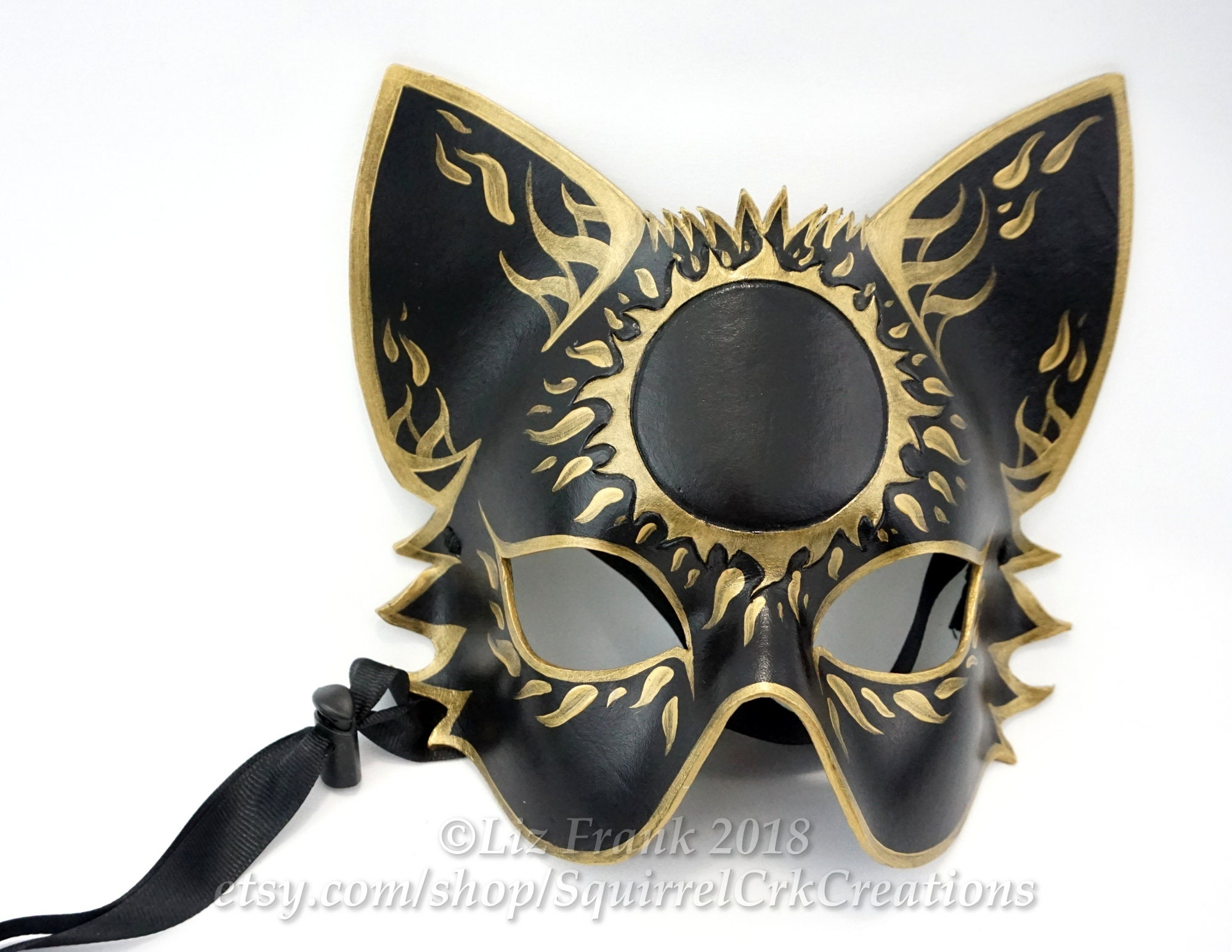 Cat Mask, Leather, Half Mystic Sun, Animal Mask, Mardi Gras, LARP Costume, Halloween Mask