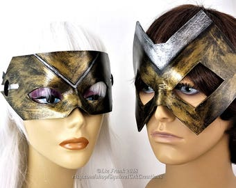 Super Hero Mask, larp, Couples Masks, Leather mask,  Mardi gras, Cosplay, Fantasy,  Role Play