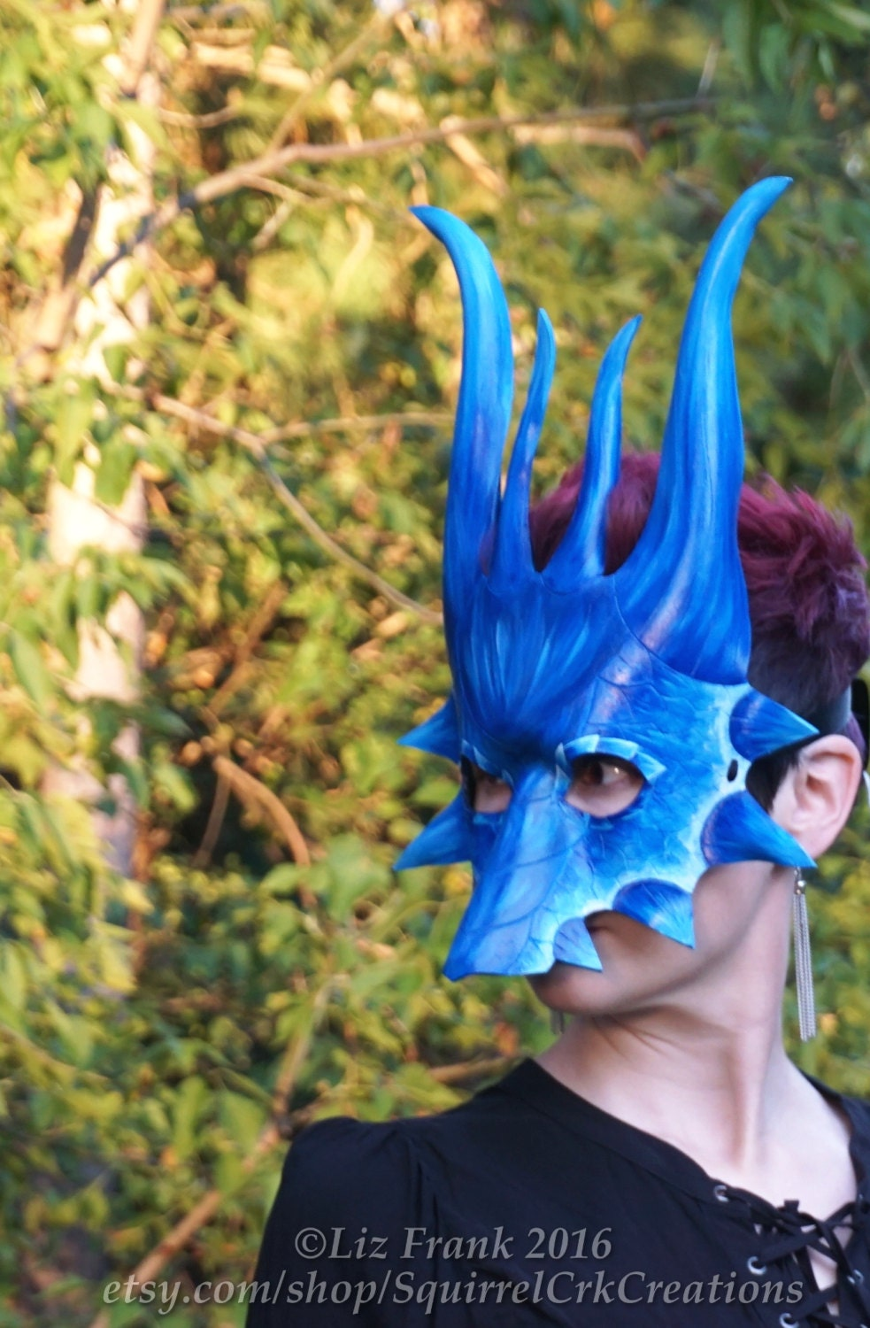 Dragon Mask Couples Costume Mardi Gras Leather Fire Red And Ice