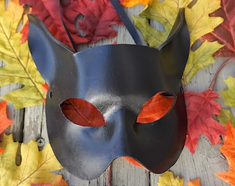 Cat Mask, Animal mask, Leather, Black Cat mask, Role Play, Masked ball, Masquerade,  Cosplay, Fantasy, Mardi Gras,  Cat costume