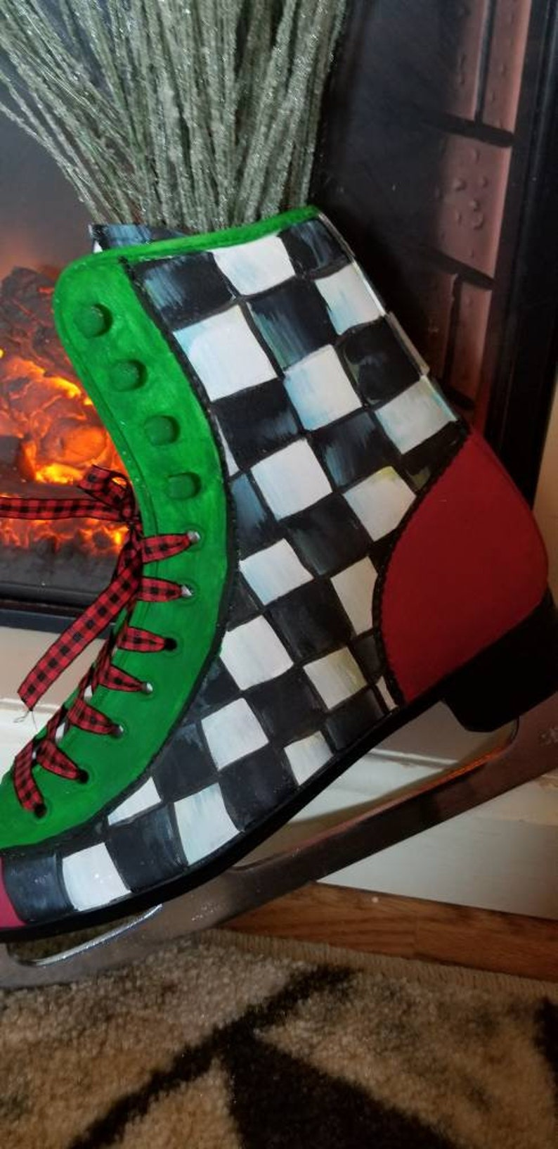 winter and Christmas decorations checkered print. Decorative Ice skate