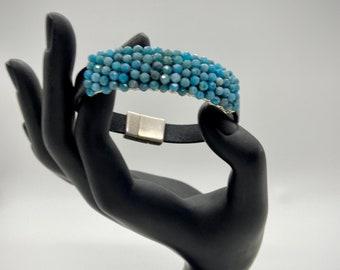 Gemstone and Leather Bracelet