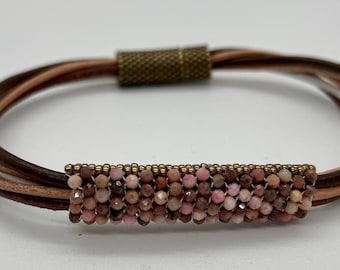 Faceted Gemstone and Leather bracelet