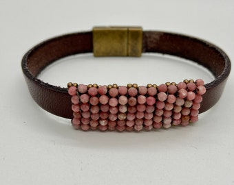 Rhodochrosite Gemstone and Leather Bracelet