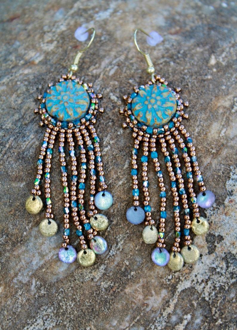 Handmade Blue Beaded Dangle Earrings image 0