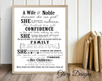 Printable Bible Verse, Scripture art, Wall art, Women's printable, Proverbs 31, Poster art, Scripture printable, Wall decor, A wife of noble