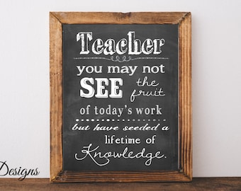 Teacher Appreciation gift, Teacher quote, Teacher printable, Teacher gift,  Printable, Classroom printable, inspirational quote
