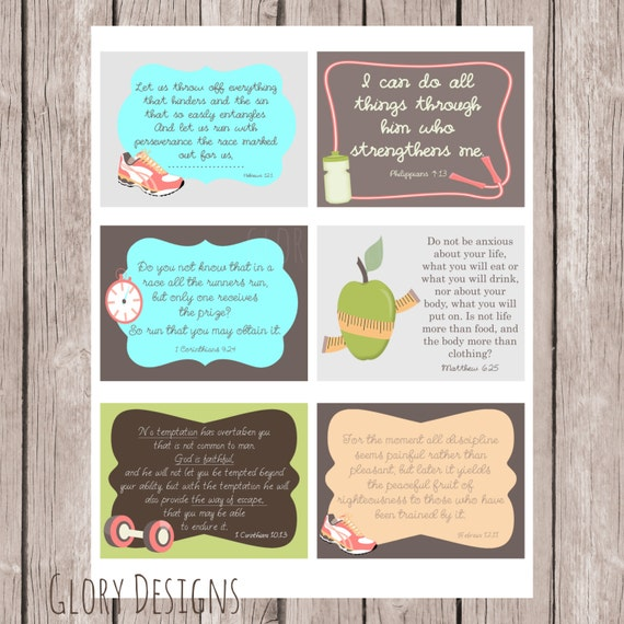 Fitness Weight Loss Prayer Printable Prayer Cards Set Of 6 Cards Diy Instant Download