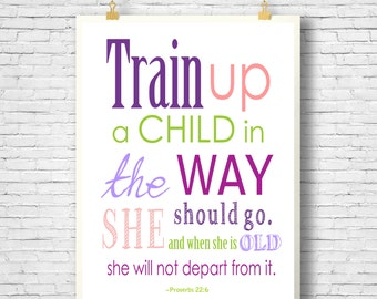 Clearance, Bible Verse, Scripture Printable, Scripture Art, Girl printable, Train up a child in the way he should go, Proverbs 22:6