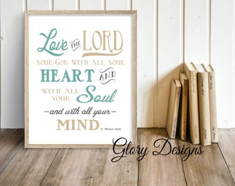 Printable, Bible Verse, Wall art Printable, Scripture art, Great Commandment, Matthew 22:37, Church Decor, Homeschool, Christian School