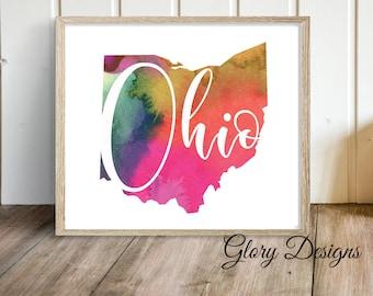 Printable, Ohio State Printable, State Art, Wall Decor, State printable, Watercolor, Printable art, INSTANT DOWNLOAD