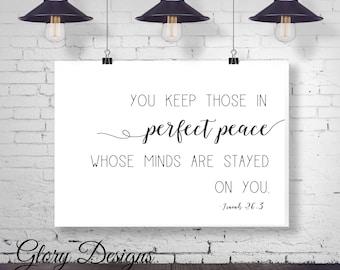 Printable, Bible verse, You keep those in perfect peace printable,  Isaiah 26:3 printable, farmhouse printable, Scripture printable wall art