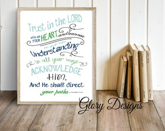 Printable, Bible Verse, Wall printable, Home Decor, Scripture Printable, Scripture art, Trust in the LORD with all your heart, Proverbs 3:5,